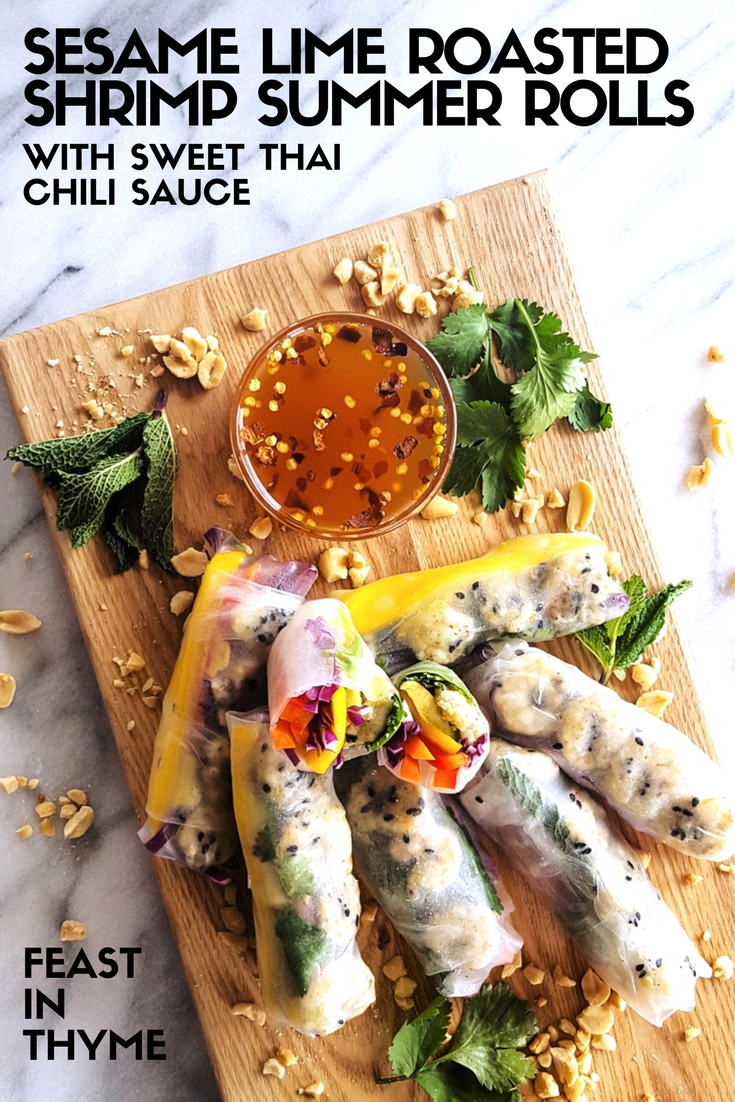 Sesame Lime Roasted Shrimp Summer Rolls with Mango & Avocado
