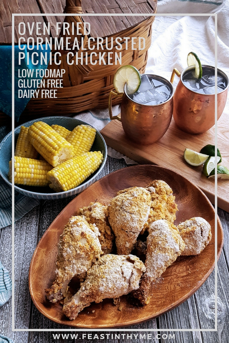 Served hot or cold, Oven Fried Cornmeal Crusted Picnic Chicken is a delicious main course for any potluck or camping trip. Crunchy and full of flavor, guests will hardly believe that this crowd-pleasing recipe is #GlutenFree, #DairyFree, and #FODMAP friendly! #lowFODMAP #chicken #potluck #picnic #nogluten   FeastInThyme.com