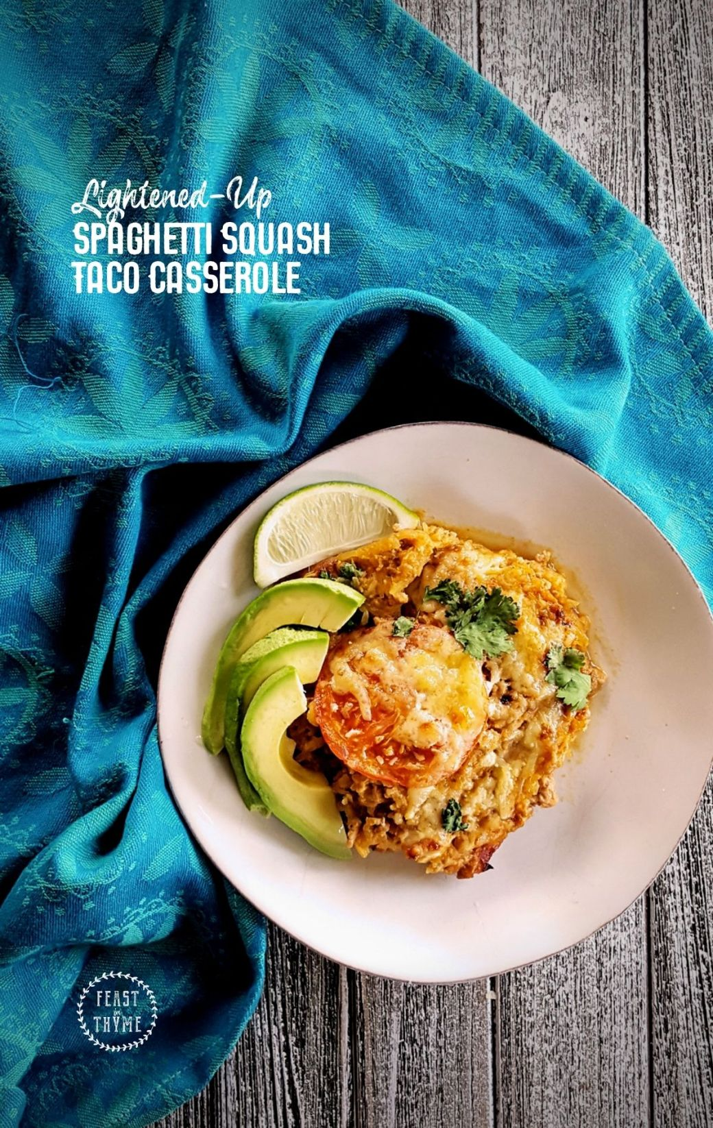 Cheesy Spaghetti Squash Taco Casserole, Lightened-Up