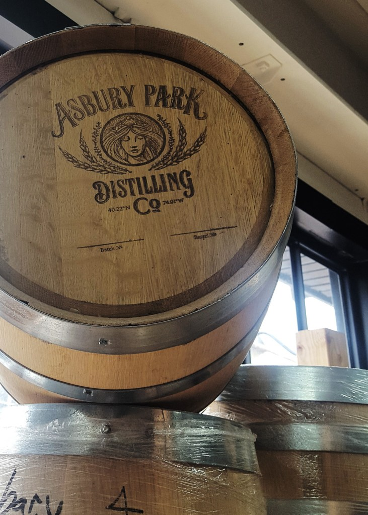 A stack of labeled barrels. | Asbury Park Distilling Co. | A Review from FeastInThyme.com