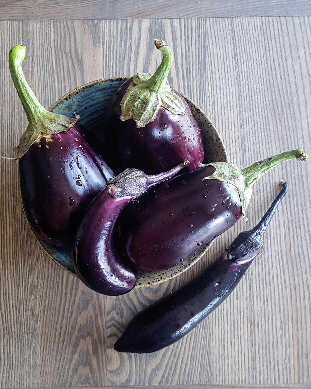 Bowl of dark purple eggplants.   FeastInThyme.com