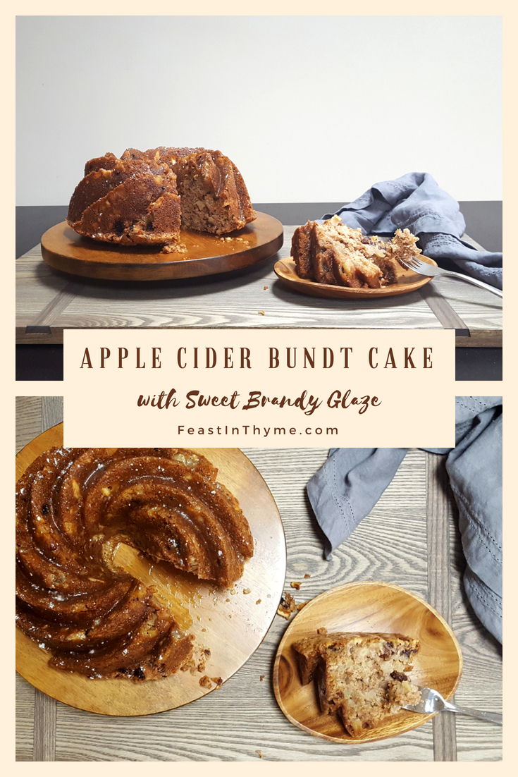 Indulge in the sweet Colonial American Tradition of Election Cake with an Apple Cider Bundt Cake with Sweet Brandy Glaze! #cake #history #apple #brandy | FeastInThyme.com