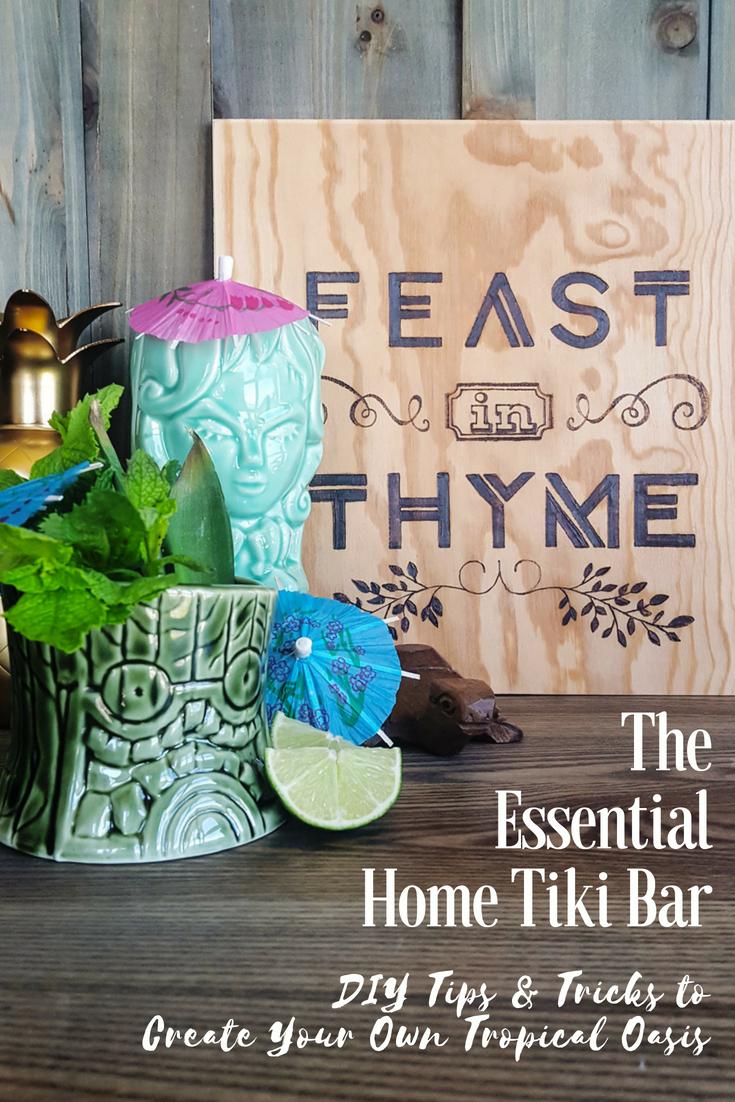 Create your own tropical oasis full of delicious #cocktails with a basic Home Tiki Bar! (Hawaiian shirt and talking parrot optional) #homebar #tikilife #tikiwierd #DIY #tiki #cocktailbar | FeastInThyme.com