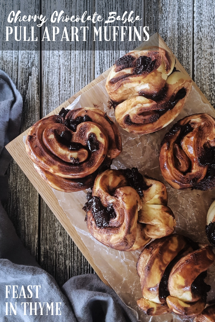 Full of sophisticated flavor, Cherry Chocolate Babka Pull Apart Muffins are a delicious, decadent sweet treat perfect for brunch or dessert. #brunch #muffin #baking | FeastInThyme.com