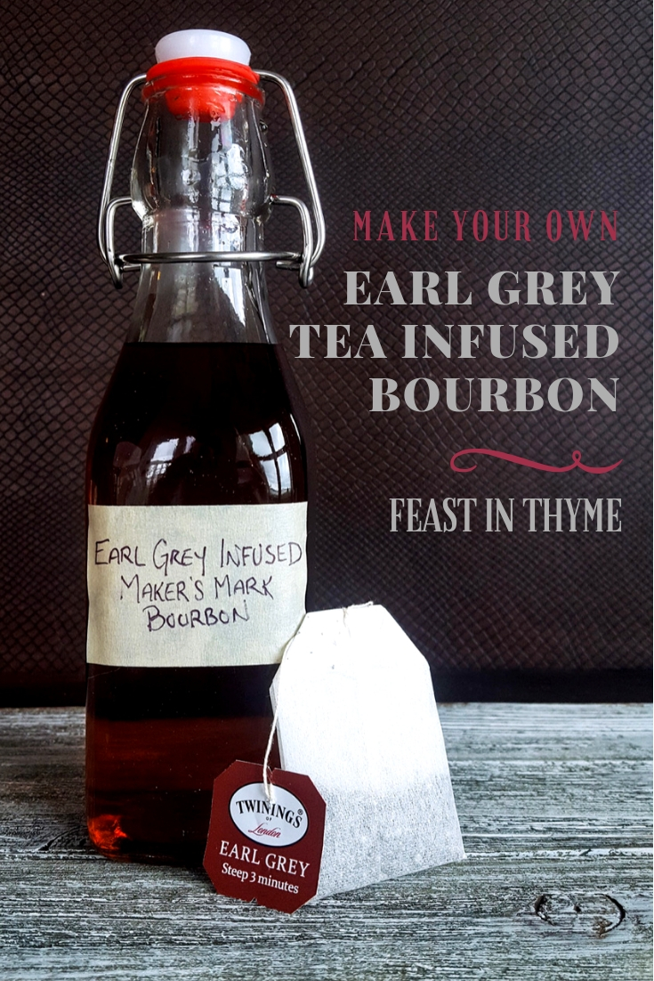 Learn how to make your own homemade Earl Grey Tea Infused Bourbon with this quick & easy tutorial! Impress friends & family with unique specialty cocktails and DIY gift bottles of this lovely flavored whiskey. #DIY #homemade #bourbon #earlgrey #infuse| FeastInThyme.com