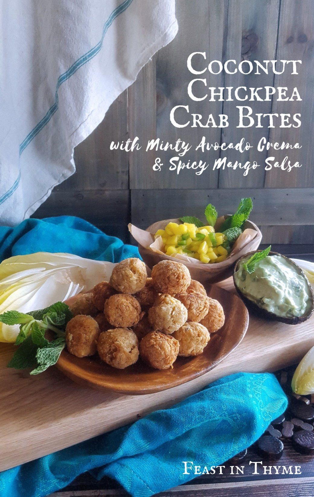 Pan fried, topped with Minty Avocado Crema & Spicy Mango Salsa, and served in an endive leaf, Coconut Chickpea Crab Bites are a delicious, gluten free twist on traditional street foods. #glutenfree #crab #streetfood #lettucecup | FeastInThyme.com