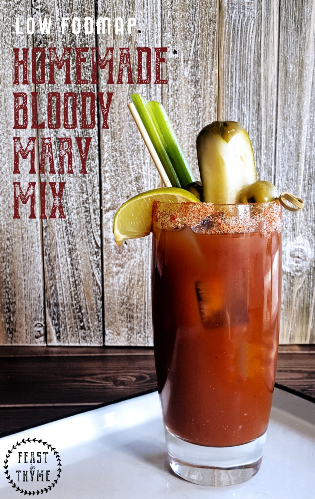 Make deliciously spicy, seriously savory, extremely easy Homemade Bloody Mary Mix for your next brunch! (Low FODMAP, Gluten Free) #lowfodmap #bloodymary #cocktail | FeastInThyme.com