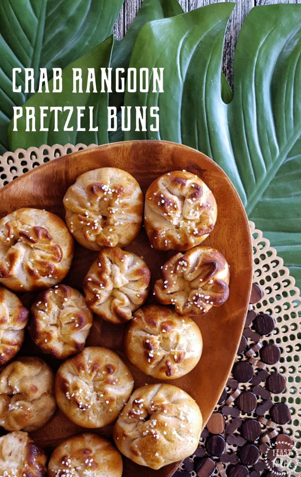 Make Crab Rangoon Pretzel Buns for a delicious & crowd-pleasing addition to any snack time, game day, or movie night menu. #crab #rangoon #appetizer #snacktime | Feastinthyme.com