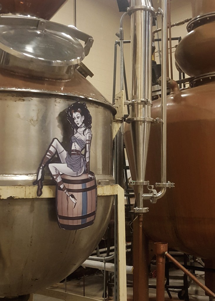 Close-up of the small batch still in Painted Stave Distilling's production room.