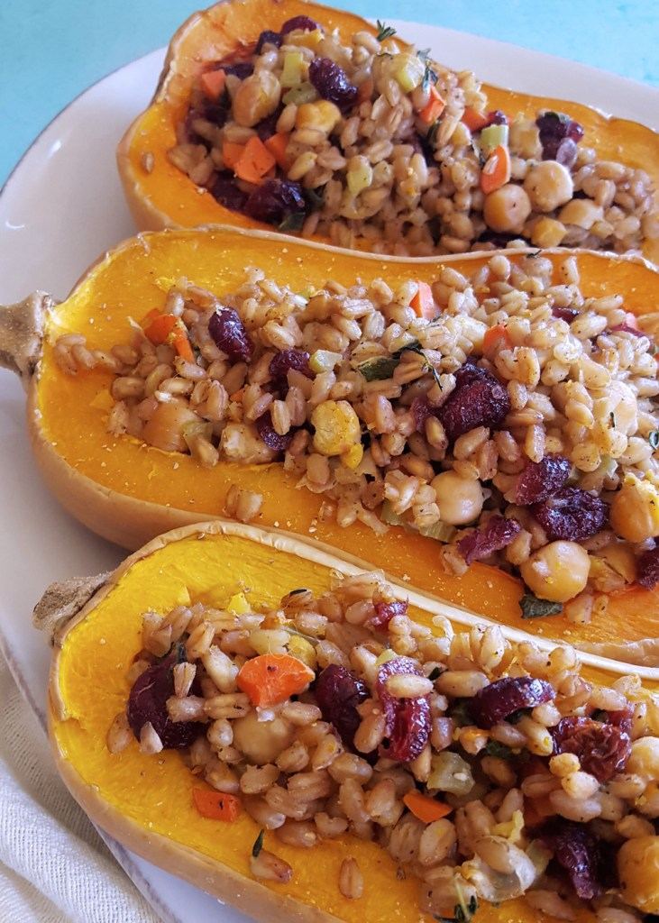 Side view of farro stuffed butternut squash.