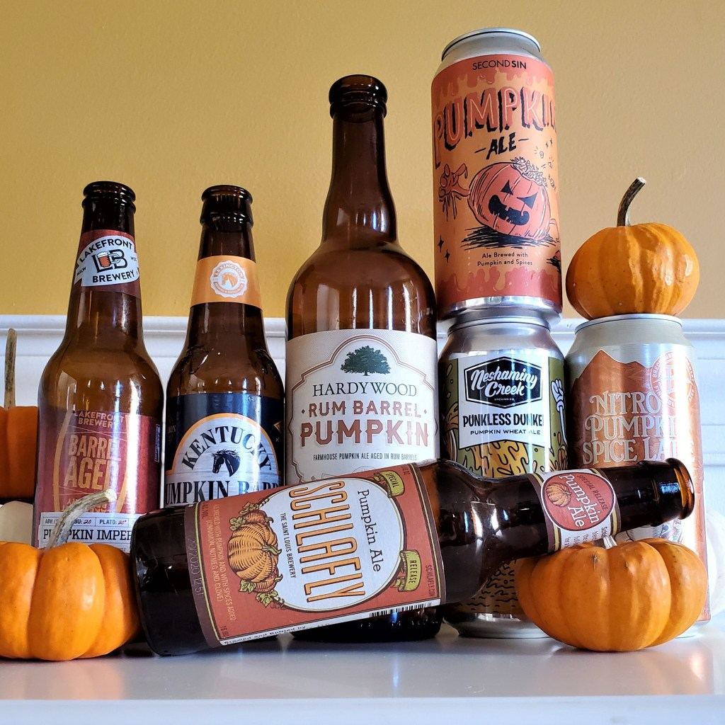 A collection of pumpkin beers, including Schlafly Pumpkin Ale