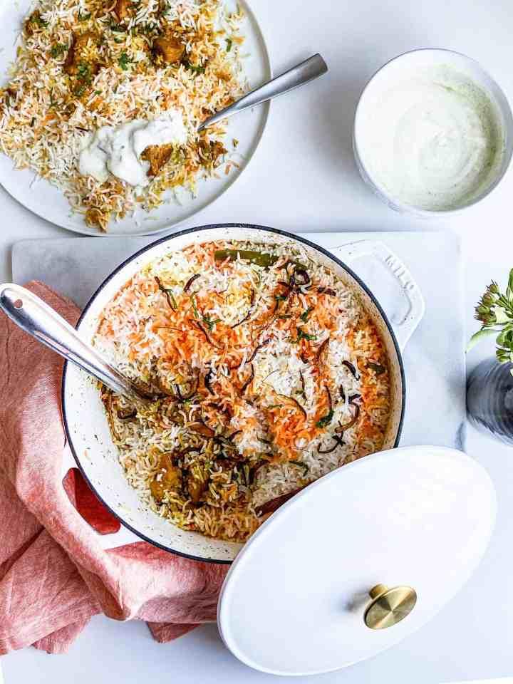 easy chicken biryani in a Dutch oven.