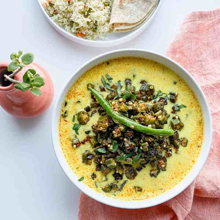 Gujarati Bhindi Kadhi-Okra Curry recipe.
