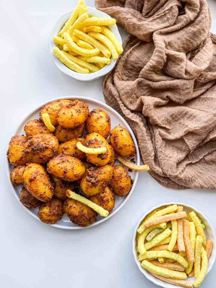 Masala Potatoes with sensible portion veggie chips.