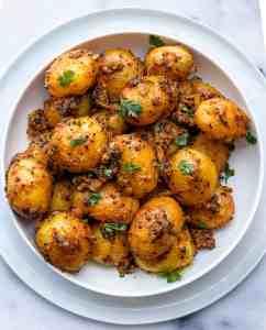 Masala Potatoes Rai wale Aloo in a bowl
