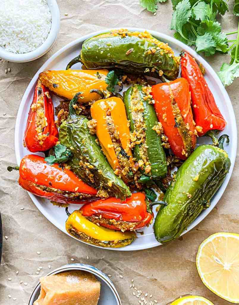 Sweet and Spicy stuffed mini peppers and jalapenos.