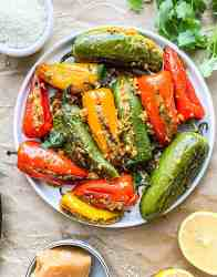 Chickpea flour stuffed peppers