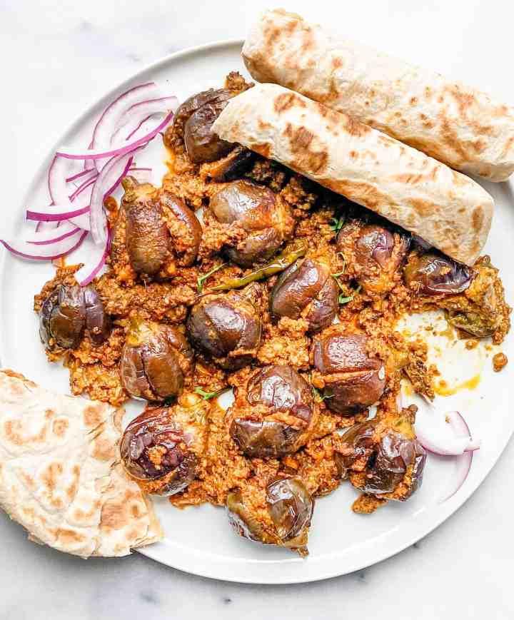 the best Bharela ringan nu shaak-stuffed eggplant recipe.