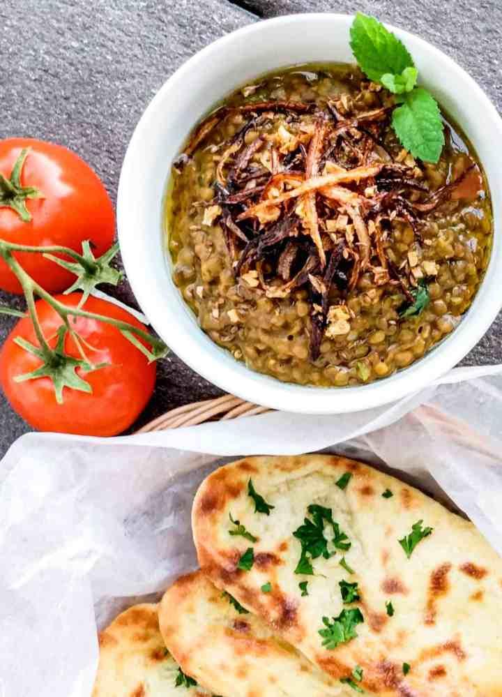 Instantpot whole brown lentil with garlic naan recipe. Sabut masoor ki daal.