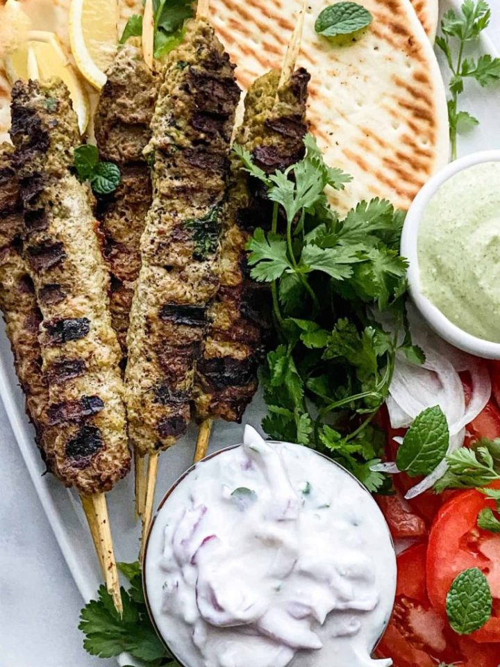 Seekh Kabab with onion raita.