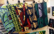 F+S African print clutches at market