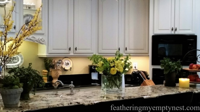 Yellow flowers, low-light plants, lemon scented candle, and fruit help to dress up the bar top counter --Inexpensive Kitchen Updates And Camouflage.