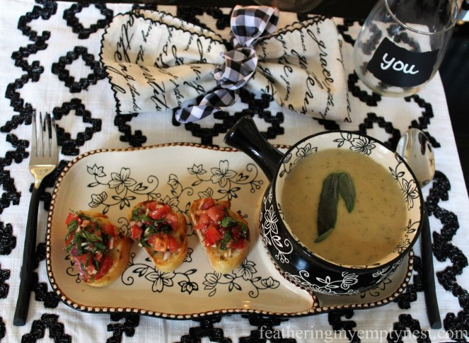 White Bean Soup & Bruschetta is the perfect menu for an intimate fireside meal