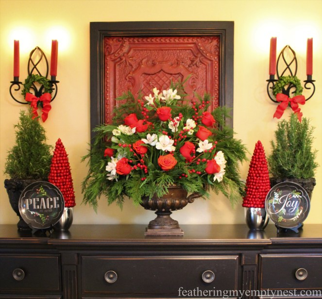 Breakfast room buffet decorated for Christmas with a red and green symmetrical display --Pancakes & Plaid: A Christmas Breakfast Table