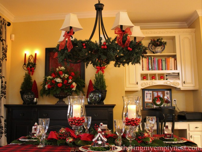 Traditional red and green decorations adorn this breakfast room --Pancakes & Plaid: A Christmas Breakfast Table