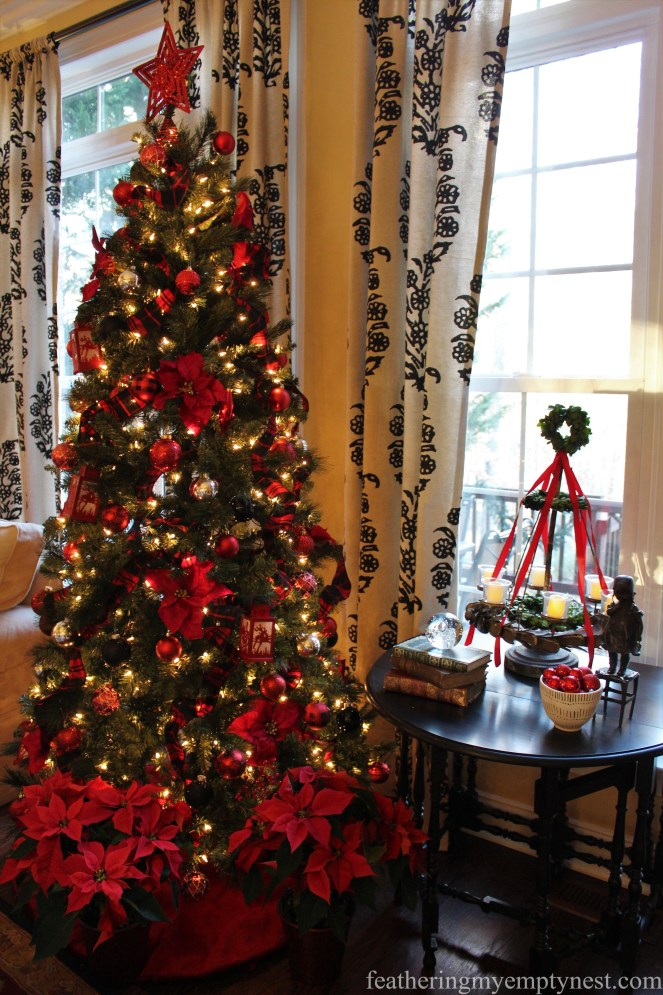 Red and black Christmas tree --Pancakes & Plaid: A Christmas Breakfast Table