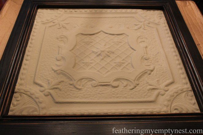 Chalk painted vintage tin ceiling tile --Tips For Using Chalk Paint And Dark Wax