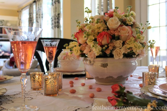 Blush flower tablescape --How To Use The Language Of Flowers To Create A Blooming Valentine's Dinner