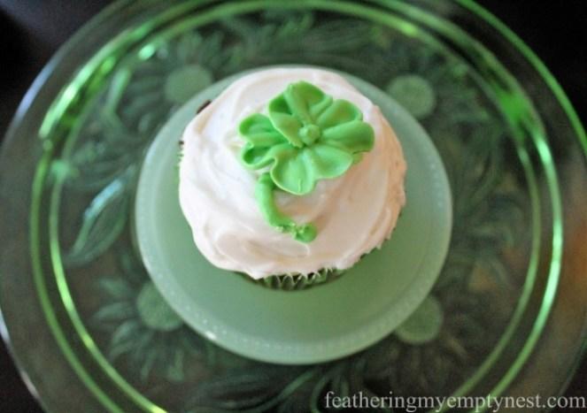 St. Patrick's Day Irish Cream Shamrock Cupcakes