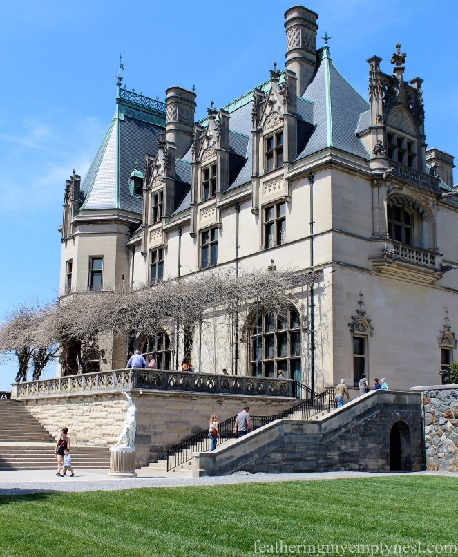 View of the Library Terrace of the Biltmore Mansion in Asheville, NC --A Spring Tour Of The Biltmore Estate Gardens