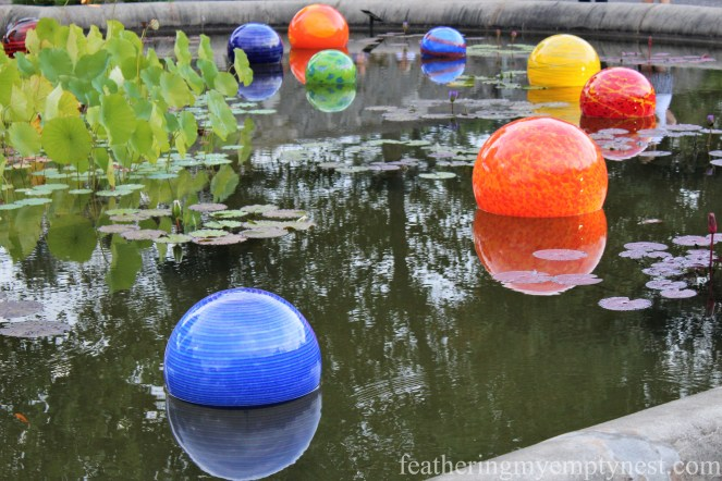 Chihuly glass floats in the Italian Garden at Biltmore --Chihuly At Night At The Biltmore