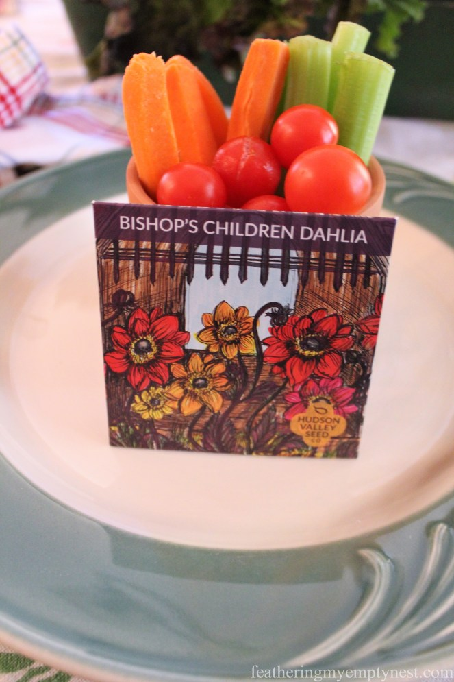 Art Seeds favor and veggies --Fall Harvest Tablescape