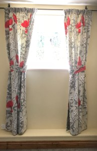 Pencil pleat curtains featuring Ashley Wilde fabric