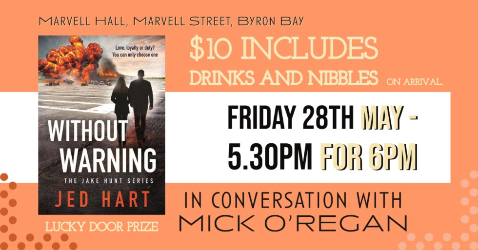 Jed Hart Book Launch Byron Bay NSW in conversation with Mick O'Regan