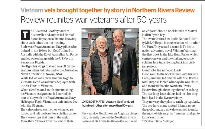 Our author, Jed Hart's book launch came with a surprise. Jed Hart and Geoff Vidal featured in The Northern Rivers Review Newspaper, July 2021.