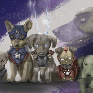 Avenger Puppies Holographic 11×17 print