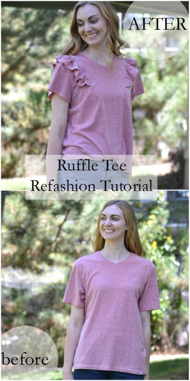 Sewing tutorial: Ruffle tee refashion