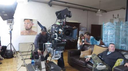 WYWL Mack's flat Waiting fr the next shot Elric (grip) Robyn & Milly (art) and XX (focus puller)