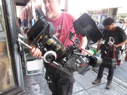 WYWL Obs Record store Focus puller Adrian Boerlage with camera, Ziyanda Ntseke (clapper loader) behind