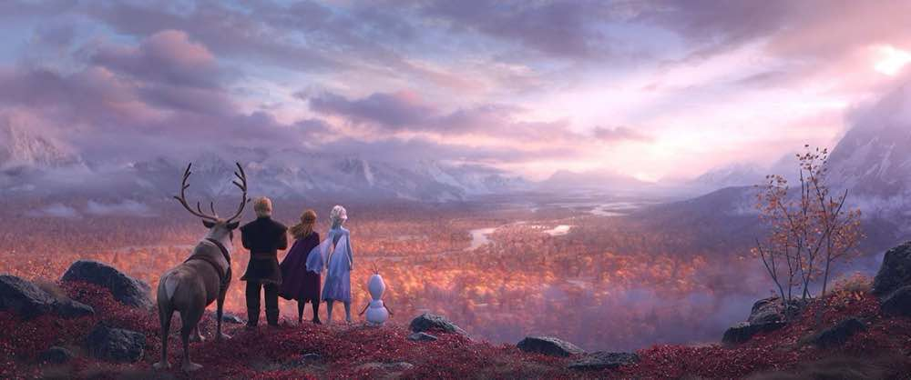 Frozen 2 Elsa, Anna, Kristoff, Sven, and Olaf looking over the enchanted lands