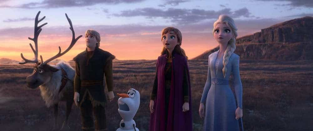 Frozen 2 Elsa, Anna, Olaf, Kristoff, and Sven looking at the enchanted lands