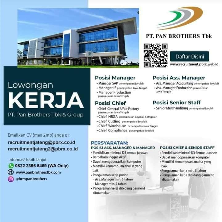 Karir Akuntansi - Accounting PT Pan Brothers Tbk