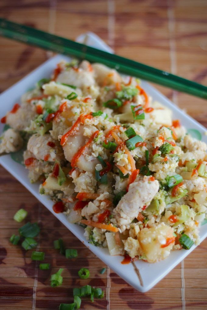 Cauliflower Fried Rice - fried cauliflower rice with chicken, veggies, pineapple, and a 3-ingredient sauce! | fedandfulfilled.com