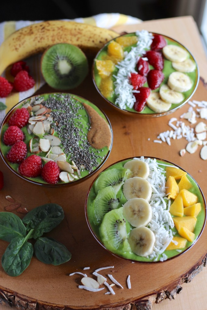 Spring Green Smoothie Bowls - eat your smoothies with a spoon and enjoy loads of delicious and healthy toppings! | fedandfulfilled.com