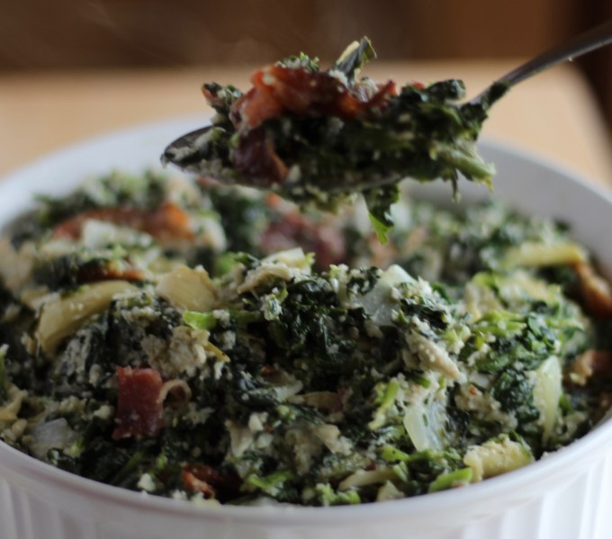 Spinach Artichoke and Bacon Dip - so good, you can eat it by the spoonful! Paleo, dairy-free, and super easy to make! | fedandfulfilled.com