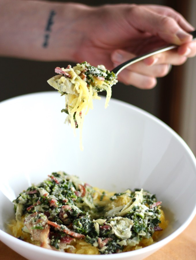 Spinach Artichoke and Bacon Spaghetti Squash